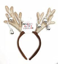 Christmas Glitter Reindeer Hair Band Headband Bells Fancydress Kids Adults Party