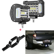 Tow Hitch Mounting Bracket+2X4inch 300W LED Work Lights Pods Fog Driving Light
