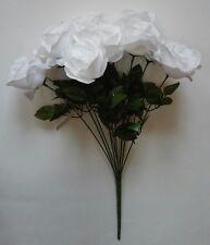 """White Rose 20"""" Bouquet Silk Flower Home Office Kitchen Patio Wedding Decor"""