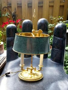 Vintage Solid Brass French Bouillotte Table Lamp By Frederick Cooper