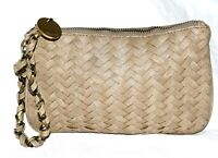 Deux Lux Beige Woven Pebbled Faux Leather Clutch Wristlet with Twisted Strap