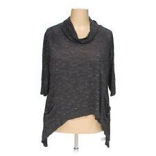 LOGO by Lori Goldstein 2X Twin Cowl Neck Space Dye Knit Top Gray A237519