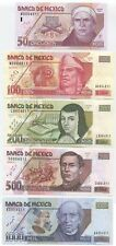 Mexico, set of 5 notes, 50-1000 Pesos 2000-02 UNC, P117-121, matching low s/n