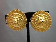 """Vintage Lion Head Earrings Clip On Matte Gold Plated Anne Klein? 1.25"""" Raised"""