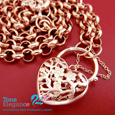 18k rose gold GF ladies solid belcher chain heart padlock long Necklace