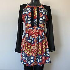 Medium Juniors Retro Floral Long Sleeve Fit And Flare Dress