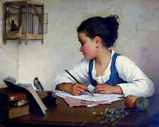 A Young Girl Writing Distracted By Pet Goldfinch Painting Real Canvas Art Print