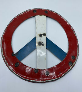 "Metal Wall Hanging Red White Blue Peace Sign Hippie Love Distressed 12"" Mexico"