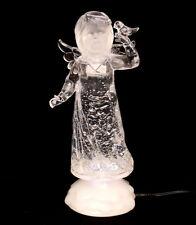 Sigro Beleuchteter LED Engel aus Acryl mit Glitterwasser gefüllt 22 cm
