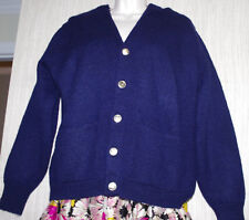ROOTS by ALAN PAINE Wool Navy Blue Button Sweater Women's Cardigan Size:44