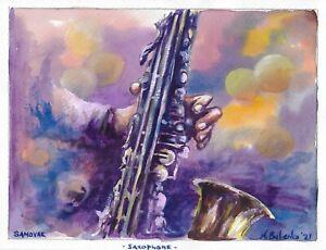 original painting 23,5 х 31 cm 110BOK art by samovar saxophone acrylic Signed