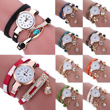 Fashion Womens Ladies Bracelet Crystal Leather Analog Quartz Dress Wrist Watches