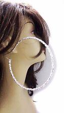 LARGE HOOP EARRINGS ROPE HOOP EARRINGS SOLID GOLD OR SILVER TONE 4.5 INCH HOOPS