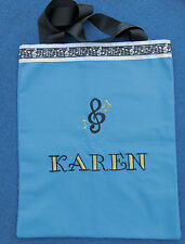 Blue Canvas Tote Bag for Music Piano and Voice Lessons 100% Cotton Canvas