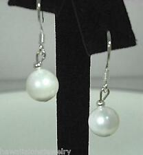 8mm South Sea White Mother of Pearl Sea Shell 925 Silver Dangling Hook Earrings