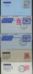 SOUTH AFRICA RHODESIA ST LUCIA 1950s COLL OF 9 AIR LETTERS W/ FIRST DAY of ISSUE