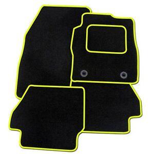 KIA CARENS 2013 ONWARDS TAILORED BLACK CAR MATS WITH YELLOW TRIM