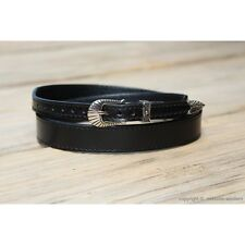"Western Leather Hat Band for Cowboy Hats Plain Black Leather 3/4"" Wide"