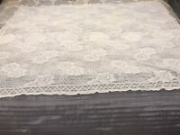"""Vintage White Hand Made Fillet Lace Tablecloth 59""""x48"""""""