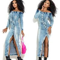MEXTON By Alina Damenkleid Sexy Jeanskleid Maxikleid Jeans 34 - 38 #D351