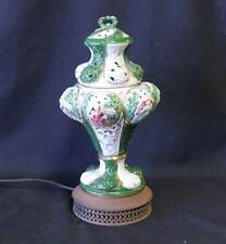 Antique Capodimonte Table Lamp Luminiere Green Hand Painted Porcelain