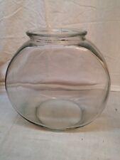 "Glass Gold Fish Bowl Aquarium Round Drum Bowl 8 1/2"" Tall by 8 1/4 Dia"