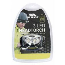 Lampe Frontale TRESPASS 3 LED (2 Blanche + 1 Rouge) Randonnée, camping, pêche