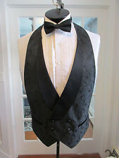 MENS VINTAGE FORMAL VEST DOUBLE BREASTED BLACK GREY PASILEY BOW TIE LARGE NB5
