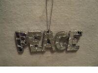 "KSA ""SILVER CRACKED MIRROR WORD ORNAMENT ~PEACE"" ~ Glittery ~ New"