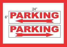 "PARKING with Arrow 6""x24"" RIDER SIGNS Buy 1 Get 1 FREE 2 Sided Plastic"