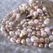 """54"""" 5-10mm Multi Color Baroque Freshwater Pearl Necklace Pearl Jewelry"""