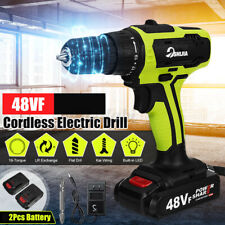 3/8'' Chuck Powered Electric Drill Cordless LED Light Screwdriver With 2 Battery