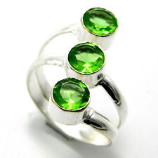 Shining Peridote Quartz 925 Sterling Silver Plated Jewelry Ring Size-O-1/2 A4