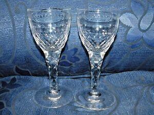 PAIR ANTIQUE CRYSTAL LIQUEUR ? GLASSES SPARKLE FACET CUT STEM & BASE & BODY