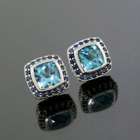 David Yurman 925 Sterling Silver 7mm Blue Topaz Sapphire Petite Albion Earrings