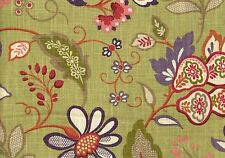Microfibres Fabric Bennison Leaf Green Purple Red Cream Drapery Upholstery