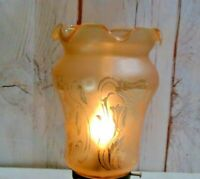 """2 1/4"""" Fitter Lamp Globe for Fixture Floral Pattern Amber Shade"""