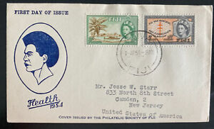 1954 Suva Fiji FDC first day cover Health Stamps To Camden NJ