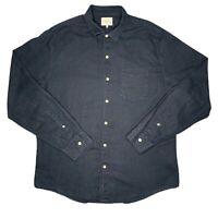 Arvust Mens Button Up Long Sleeve Shirt Size XL Navy Blue Linen/Cotton