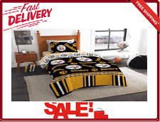 Pittsburgh Steelers Bed in a Bag Queen Comforter Flat Fitted Sheet 2 Pillow Case