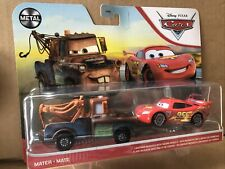 DISNEY CARS DIECAST- Mater & Lightning McQueen With Racing Wheels - 2021 Card
