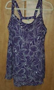 NWOT ISLANDER PLUS SIZE 24 W (ONE PIECE) SWIMSUIT SWIM DRESS PURPLE/WHITE