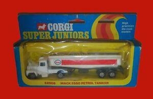 Vintage Corgi Super Juniors E2006 Mack Esso Petrol Tanker Truck W/Box