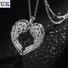 Christmas Gift Silver Angel Wing Heart Necklace + Gift Bag