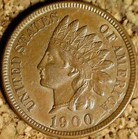 1900 Indian Head Cent - BEAUTIFUL AU with 9/9 REPUNCHED DATE  (K250)