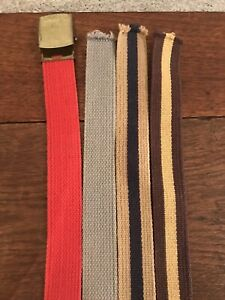 """FOUR 32"""" BRAIDED FABRIC BELTS LOT With ONE Interchangeable Buckle Vintage Woven"""