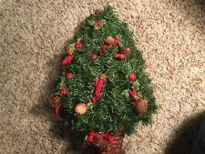 Artificial Christmas Tree Wall Hanging -14 inch w/ decorations- vintage