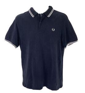 Fred Perry Polo Shirt Black White Short Sleeve Mens M
