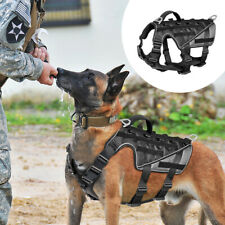 Military No-pull Tactical Dog Harness Vest Mesh Molle Service Harness Black M XL