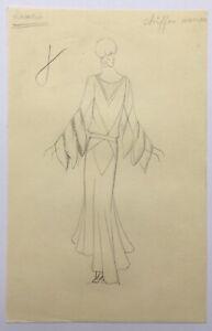 Dessin Original Art Déco Croquis Mode Couture Portrait Femme Robe Jeanne Lanvin
